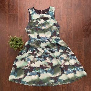 Mossimo Blue & Green Watercolor Dress